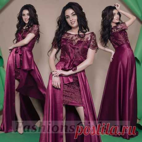 Купить роскошное вечернее платье с вышивкой и атласной съёмной юбкой