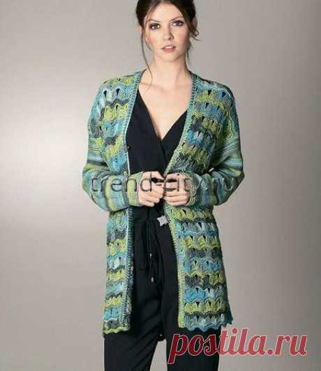 Cardigan from a yarn of section dyeing, an openwork wavy pattern, the Hook. \/ www.trend-city.ru