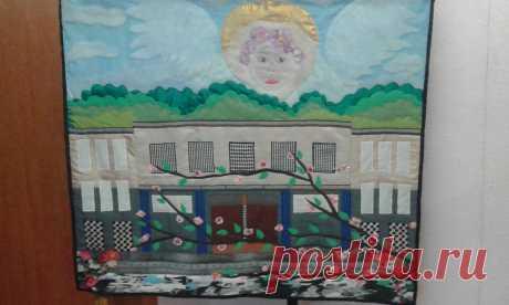 """Картина из лоскутков """"Ангел небесный!, Подарок школе"""