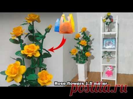 DIY bunga mawar sudut ruangan dari plastik kresek | HOW TO MAKE ROSE FLOWERS FROM PLASTIC
