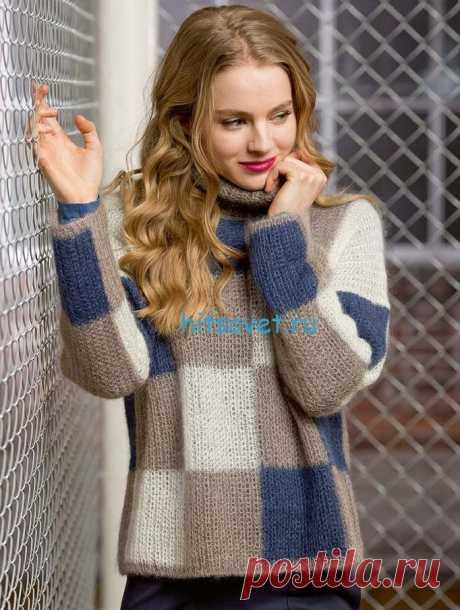 El pulóver de estilo en la jaula - Hitsovet el pulóver De estilo en la jaula. Para la labor de punto del pulóver como Ud será necesario: el hilado LANG YARNS MOHAIR LUXE