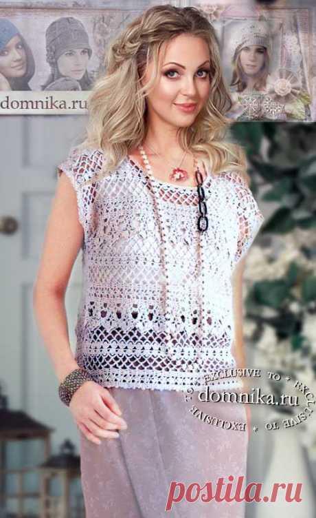 Простые модели вязания для женщин - 3 белых кофточки из хлопка