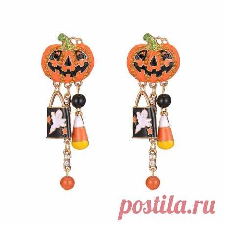 Halloween pumpkin earrings hanging creative party earring ghost pendants chain halloween earrings jewelry Sale - Banggood.com
