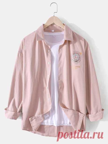 Mens Cotton Simple Earth Print Long Sleeve Shirts - US$22.99
