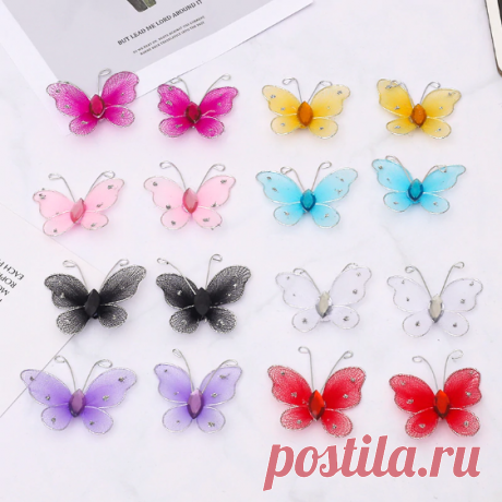 Бабочки 45*50 мм 20 шт, 8 цветов + микс