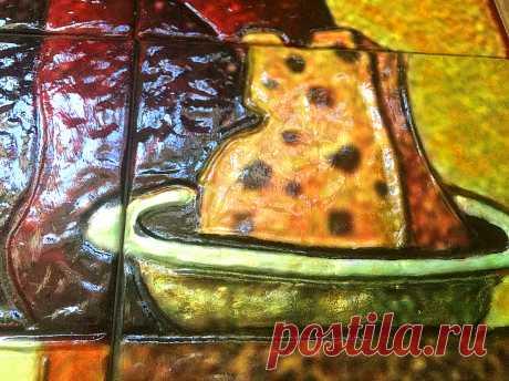 натюрморт фрукты, натюрморт овощи, натюрморт фрукты и овощи, панно натюрморт, панно на плитке, панно на плитке керамической, плитка керамическая ручной работы, плитка ручной работы