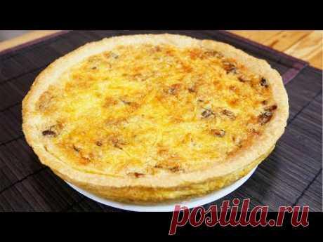 Киш Лорен с курицей и грибами   Открытый французский пирог