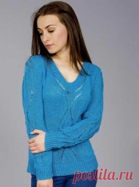 Вязание крючком и спицами - Пуловер с V-образной горловиной и с ажурным узором