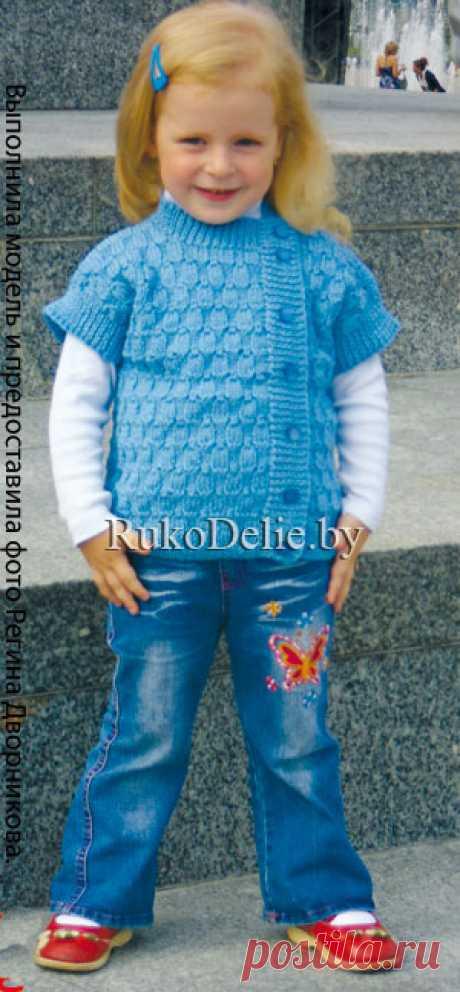 Жилет для девочки с асимметричными полочками, вязаный на спицах. :: Модели одежды для девочек :: Детская одежда :: Вязание спицами/Knitted clothes for girls :: RukoDelie.by