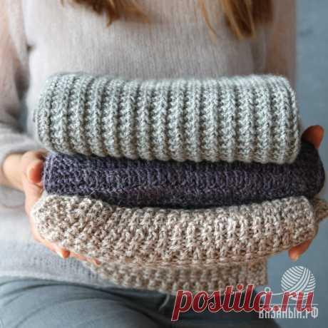 Простые узоры спицами для шарфа