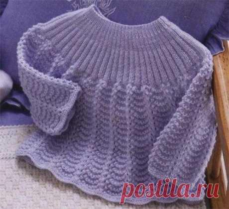 Красивый свитер для девочки из категории Интересные идеи – Вязаные идеи, идеи для вязания