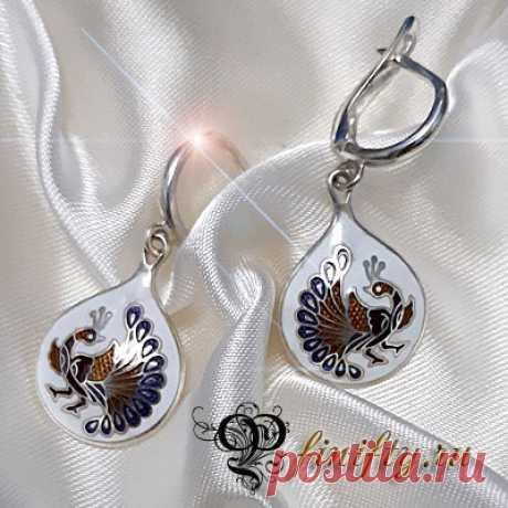 Авторские ювелирные украшения Серьги. Серебро 925. Горячая выемчатая эмаль.