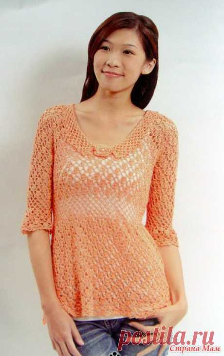 . Gentle peach blouse. - All in openwork... (knitting by a hook) - the Country of Mothers