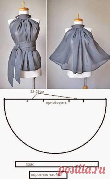 Простые платья и блузы из круга ткани. Идеи и выкройки