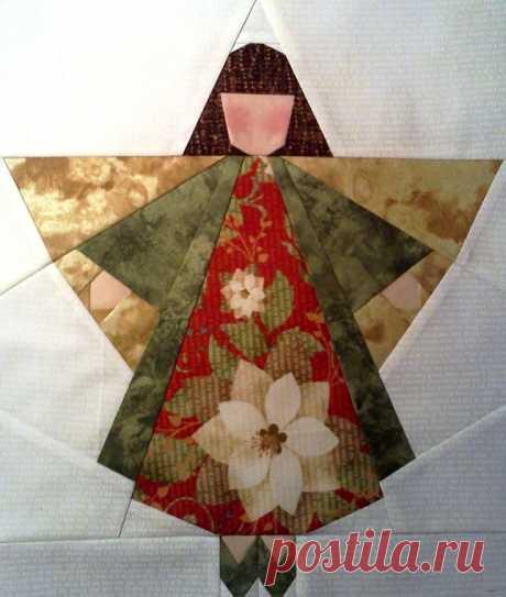 neatly pieced christmas angel block | quilt blocks | Ангел, Рождественские Ангелы и Рождество
