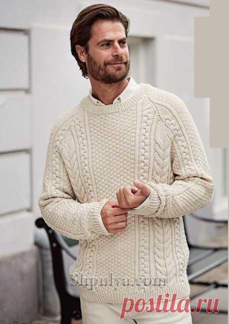Мужской пуловер реглан с аранскими «Косами» — Shpulya.com - схемы с описанием для вязания спицами и крючком
