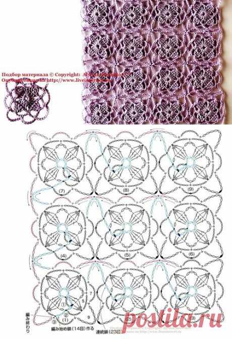 Мотивы крючком безотрывное вязание от Let's knit (Япония).
