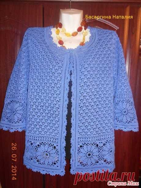 Classical openwork jacket a hook - Knitting - the Country of Mothers