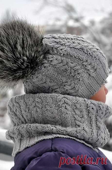 Схема красивого узора: шапка и снуд вязаные спицами | Блог elisheva.ru
