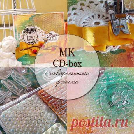 Чай с корицей: МК: CD-box с акварельными фонами