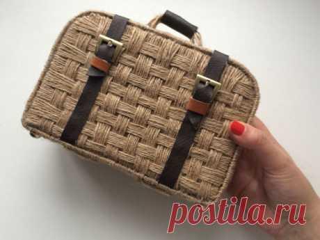 Как сделать плетёный чемоданчик из джута и картона своими руками