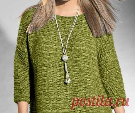 Модный джемпер для дам до 62-го размера (Вязание спицами) – Журнал Вдохновение Рукодельницы