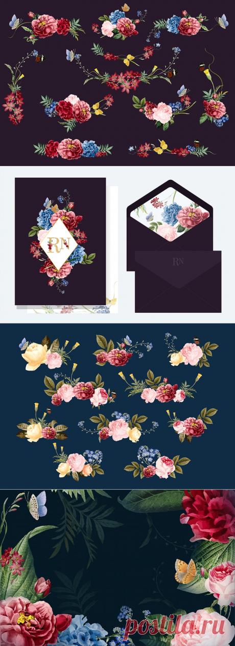 Гламурный цветочный дизайн / rawpixel