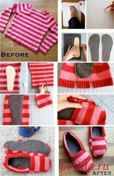 Домашние тапочки из старого свитера - рукодельничаем с пользой