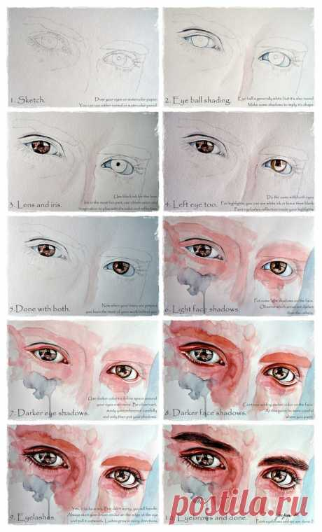 Watercolor eyes in flesh tone tutorial by jane-beata on DeviantArt