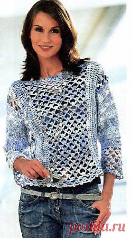 Бело-голубой меланжевый пуловер
