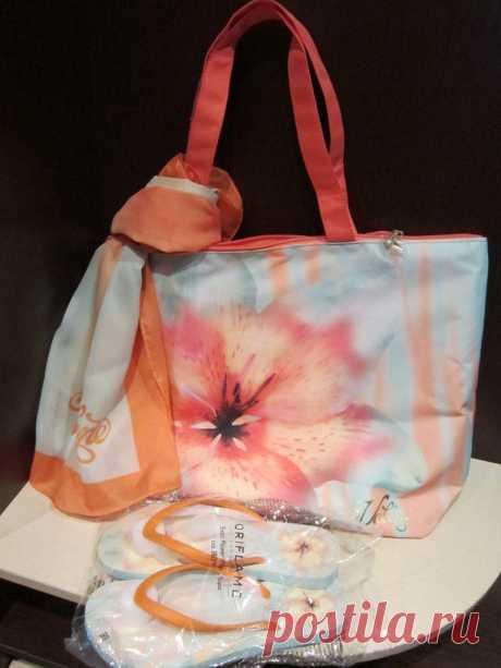 Пляжна сумка, парео, шльопанці (36-38 розмір).