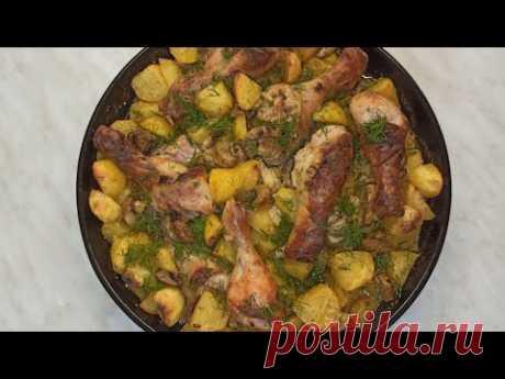 Вкусный ужин - всегда мало!Курица с картошкой и грибами в духовке.