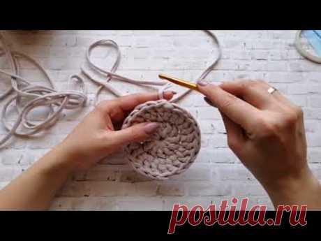 Круглый ковёр / Ковёр круг из трикотажной пряжи / Ковёр крючком