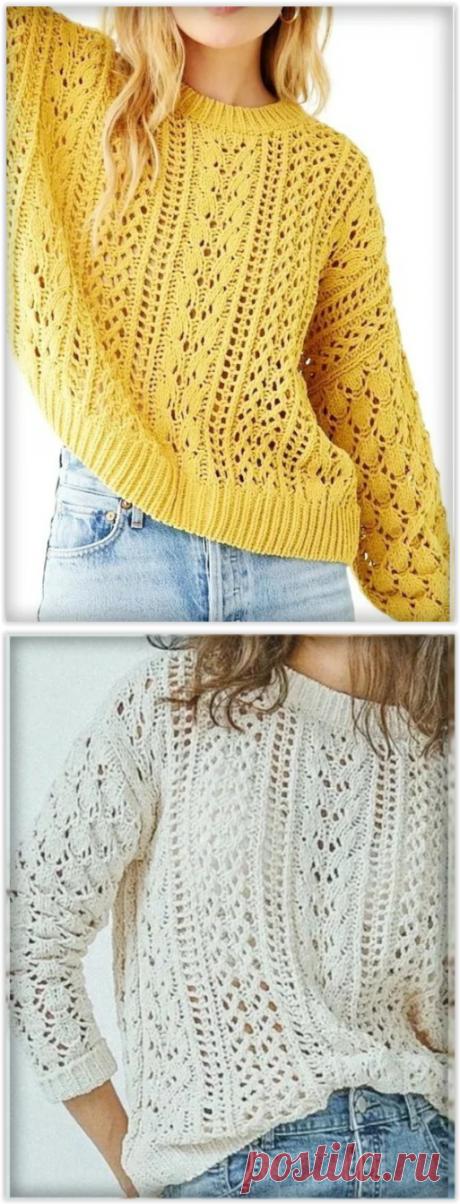 Нежные модели ажурных джемперов и пуловеров спицами из европейских модных журналов!