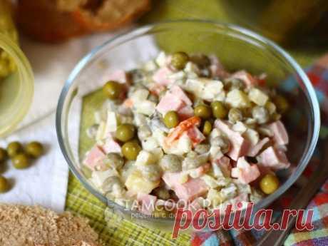 Классический «Оливье» с колбасой — рецепт с фото Может, не совсем полезный, зато любимый всеми рецепт классического салата «Оливье» с колбасой.