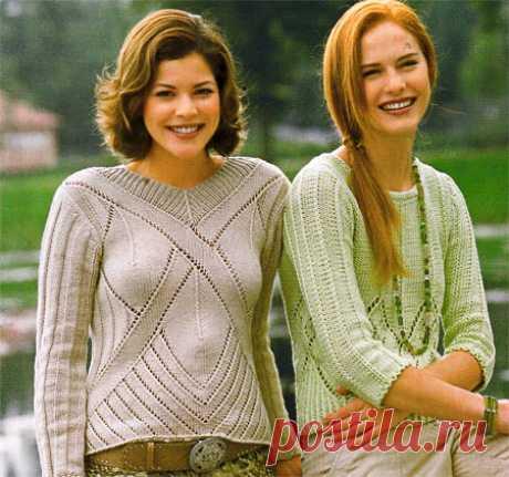 Пуловер с узором из крупных ромбов