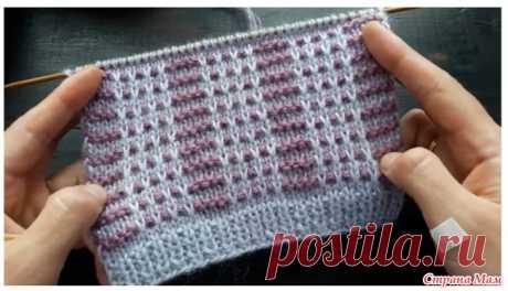 Красивый двухцветный узор для свитера или шапки Простой но эффектный двухцветный рельефный узор в технике ленивого жаккарда.  За счет протяжек он довольно плотный и, соответственно, теплый.