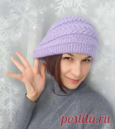 Шапка зимняя двойная с поперечной косой, связана спицами, Вязание для женщин