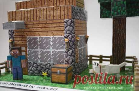 Minecraft Diorama by svanced 3 This is my idea/view of a Minecraft Diorama. All parts(including the house template)were downloaded from pixelpapercraft.The house was scaled up and the rest of the parts too to fit with the house....