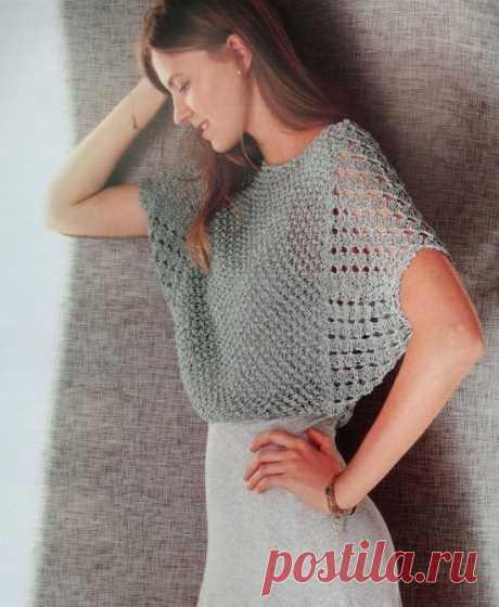 Ажурный укороченный пуловер «летучая мышь»