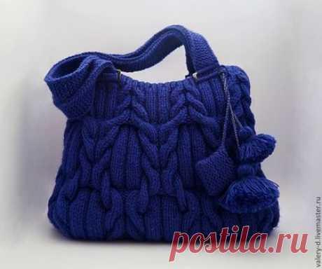 Купить MIDNIGHT BLUE сумка на плечо араны косы - сумка вязаная, Авторский дизайн