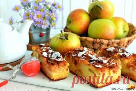 Пирог с яблоками на творожном тесте