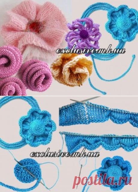 Цветы спицами | Салон эксклюзивного вязания