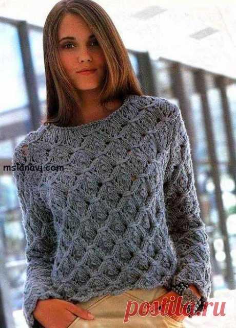 Как связать женский свитер с фантазийным узором - Вяжем с Лана Ви Этот женский свитер с выразительным фантазийным узором показался мне очень молодежным. Узор очень простой и понятный. Кроме того, для новичков я подобрала полезное видео, которое поможет разобраться в основных моментах. Модель может быть как очень теплой, если вы используете шерстяную пряжу, так идля весны-лета, еслисвязать такой свитер из пряжи с составом хлопка. Данный узор с […]