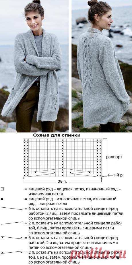 Кардиган с отделкой «косами» - схема вязания спицами. Вяжем Кардиганы на Verena.ru