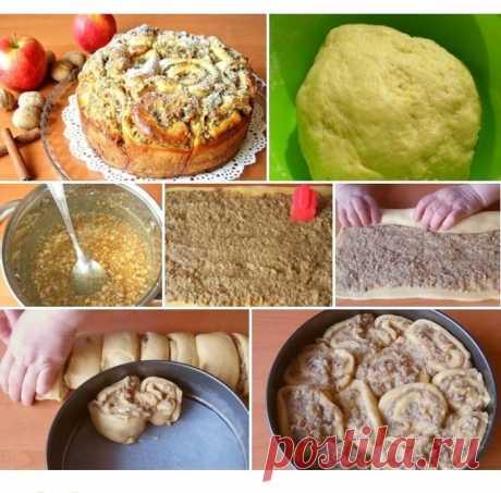 """Пирог из """"розочек"""" с начинкой из орехов и яблок."""