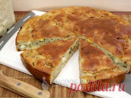 Простой, быстрый и очень вкусный пирог с капустой из заливного теста на кефире.