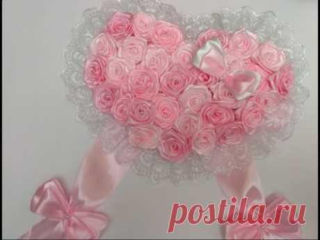 БАНТ на ВЫПИСКУ НОВОРОЖДЕННЫХ. Розы из Лент МК. / Bow Ribbons /DIY/Tutorial/Kanzashi
