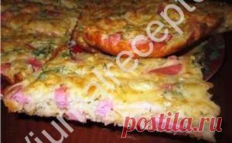El pastel rápido con el jamón y el queso la receta
