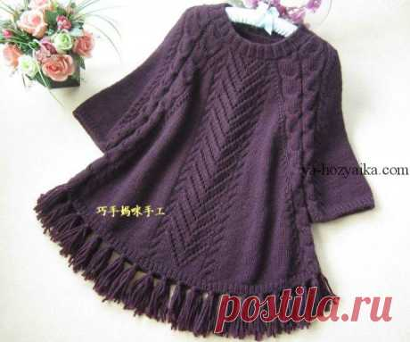 Пуловер-пончо спицами по японским схемам. Схема вязания пончо спицами